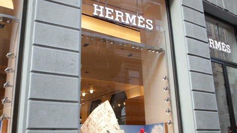 Milan, Via Montenapoleone Fashion Street Hermes Sign Shop in Milan,Italy-August 2018
