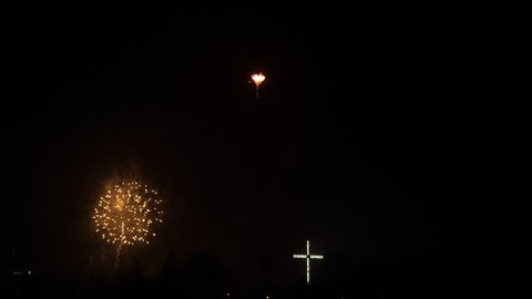 Firework explosion in the sky, celebrating new year in Gdynia city, Poland. Colorful fireworks at holiday night