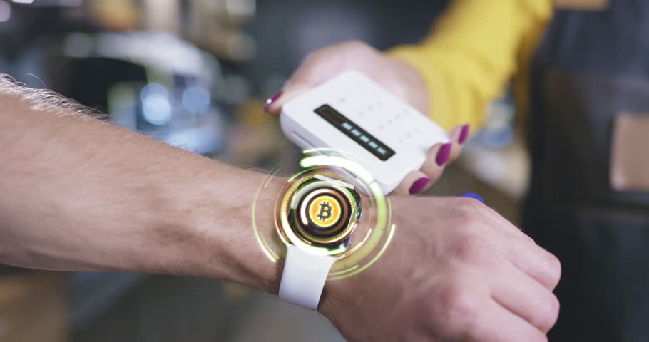 Hand With Futuristic Smart Hud Watch Hologram Display Choosing Options Payment Methods Crypto Currencies Paying Wirelessly Future Of Payment Concept