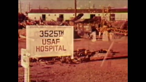 CIRCA 1960s - An injured pilot is shown at the 3525th USAF hospital and he recalls a preflight inspection of a Lockheed T-33 Shooting Star.