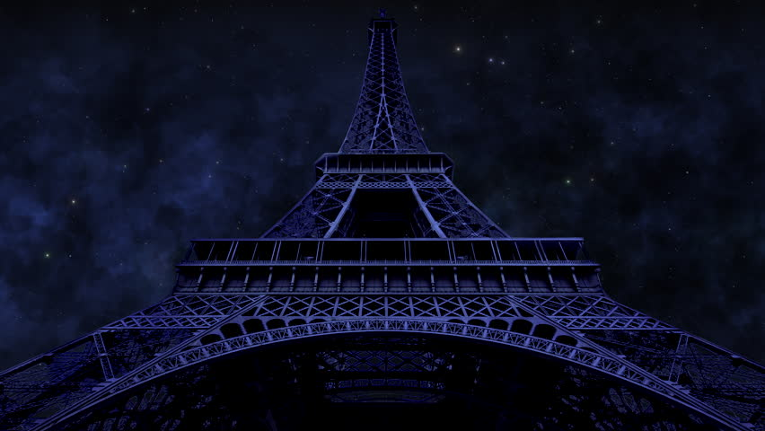 The Eiffel Tower by moonlight.