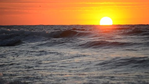 Water and waves sea landscape scenery country scene background on sunny day dawning daybreak daylight sunset sundown sunrise dawn. Natural ocean backdrop summer concept