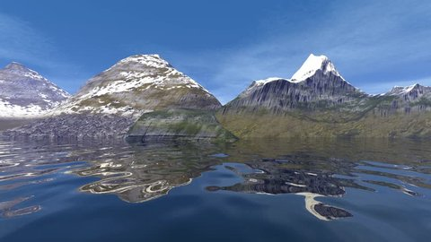 Snowy mountains, 3d rendering, a beautiful animation, an alpine landscape, grass on the ground, reflection on water and a blue sky.
