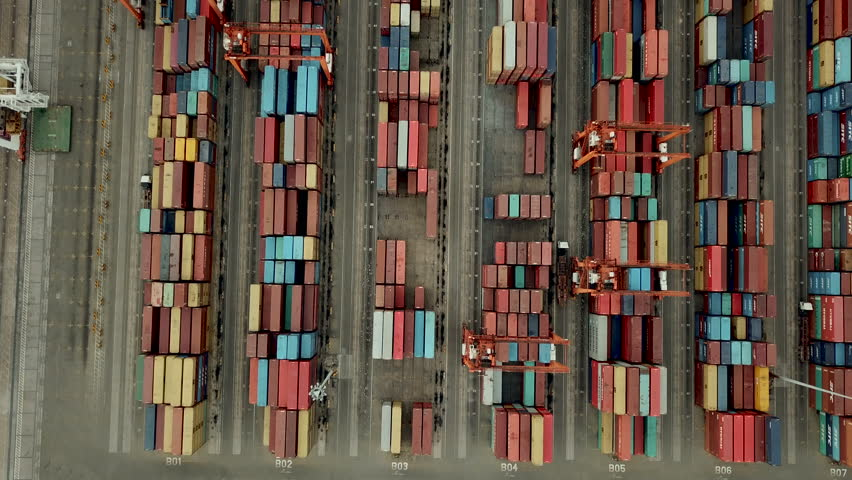 Top down of industrial port with containers #1016447923