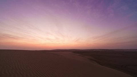 Sunrise timelapse in sealine desert in Qatar.