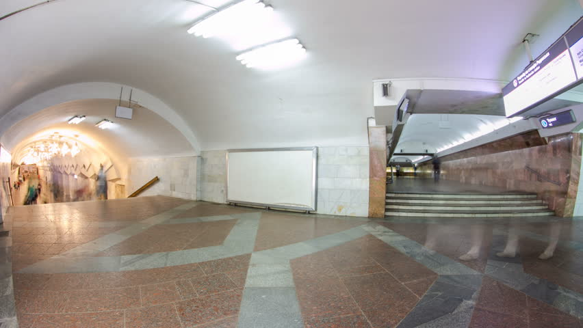 Transfer between metro stations of Kharkiv metro timelapse hyperlapse, with a passengers passing by, in Kharkov, Ukraine