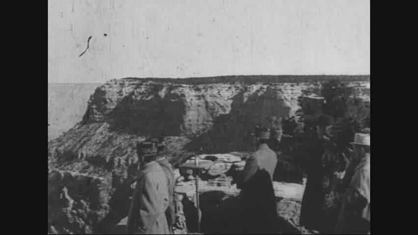 CIRCA 1920s - Marshal Ferdinand Foch visits the Grand Canyon in Arizona, the Crow Indiana Reservation in Montana.