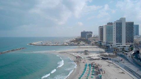 Tel Aviv beach, Marina and hotels - drone footage.