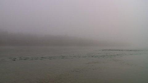 Looking northeast across the North Saskatchewan River on a foggy morning. Edmonton, Canada.