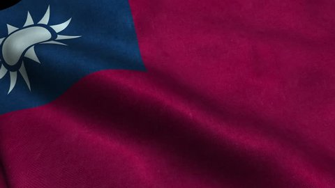 Photorealistic 4k Close up of taiwan flag slow waving with visible wrinkles and realistic fabric. A fully digital rendering, 3D Animation. 15 seconds 4K, Ultra HD resolution taiwan flag animation.