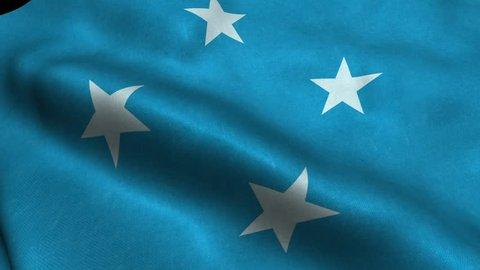 Photorealistic 4k Close up of micronesia flag slow waving with visible wrinkles and realistic fabric. 15 seconds 4K, Ultra HD resolution micronesia flag animation.