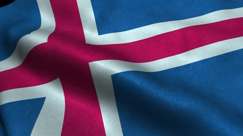 Photorealistic 4k Close up of iceland flag slow waving with visible wrinkles and realistic fabric. A fully digital rendering, 3D Animation. 15 seconds 4K, Ultra HD resolution iceland flag animation.