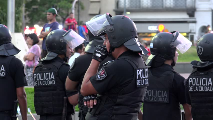 Buenos Aires, - FEBRUARY 23: Police on the Plaza de la Republica during Buenos Aires citizens social protest.  February 23, 2018 in Buenos Aires, Argentina