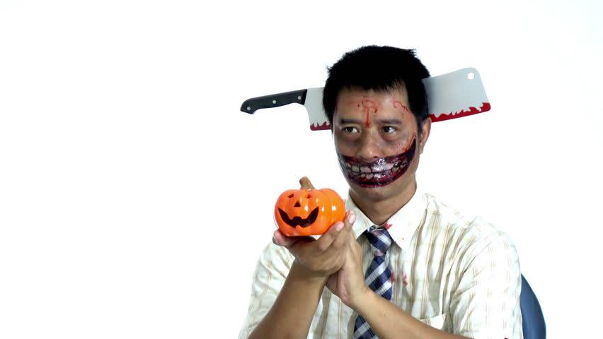 Devil giving pumpkin in halloween themes | Shutterstock HD Video #1016563033