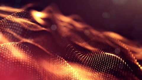 4k abstract background with smooth looped animation of glowing particles, shining bokeh sparkles. Sci-fi golden red composition with oscillating luminous particles.
