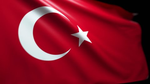 Turkish Flag Background Seamless Looping with Luma Matte