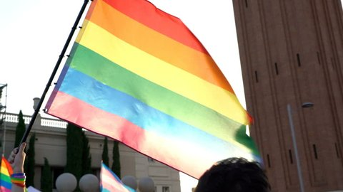 Gay Pride. Flags party people on the street celebrating freedom & homosexuality. Lesbian, Gay, Drag Queen.