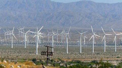 Wind turbines generating electricity at a desert wind farm near Palm Springs, California, USA