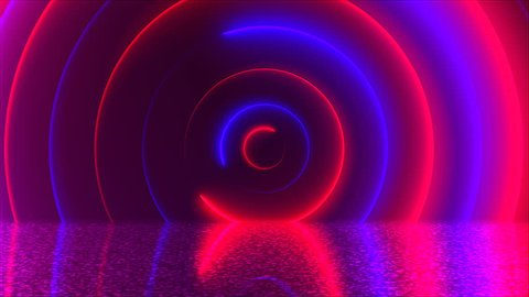 Abstract circles neon tunnel with reflection, computer generated background, 3D render background