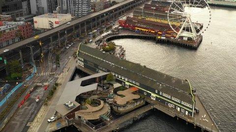 SEATTLE, WASHINGTON, USA - SEPTEMBER 15, 2018: Seattle Aquarium pier aerial video