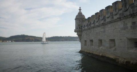 Lisbon Portugal Belem Tower Boat Close Up