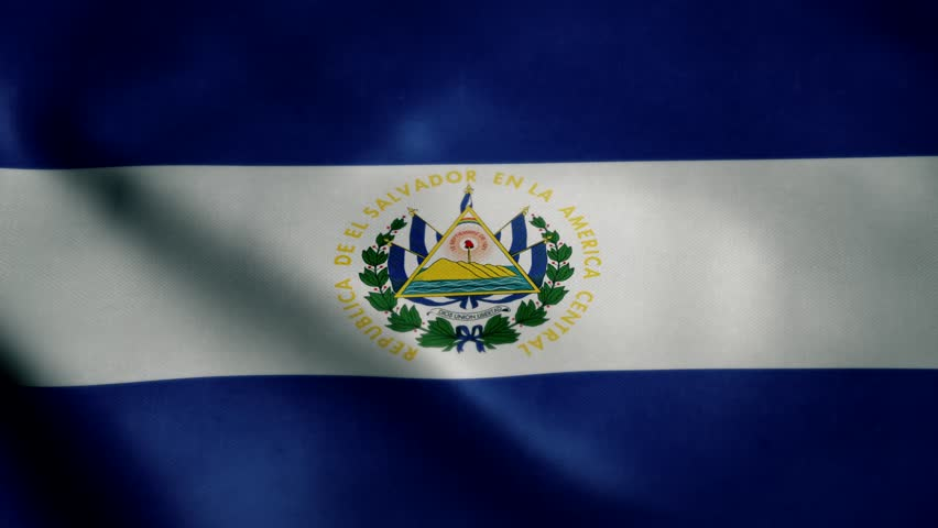 Flag of El Salvador, slow motion waving. Looping animation. Ideal for sport events, led screen, international competitions, motion graphics etc