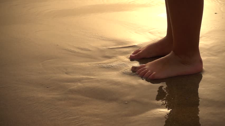 Child Feet in Sea Water at Sunset, Super Slow Motion #1016801353