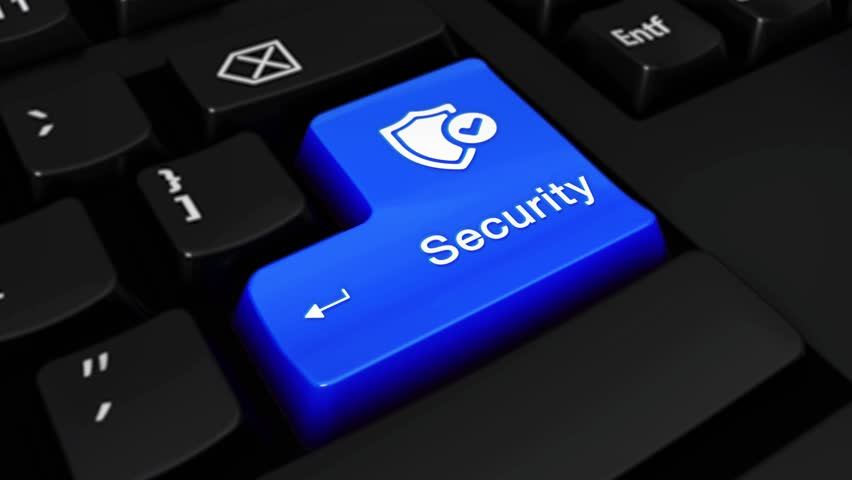 532. Security Round Motion On Blue Enter Button On Modern Computer Keyboard with Text and icon Labeled. Selected Focus Key is Pressing Animation. technology security concept | Shutterstock HD Video #1016805253