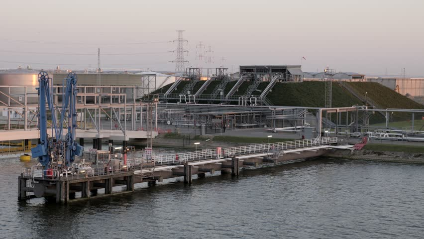 Underground gas holders in port Antwerp, Belgium 05.02.2018 | Shutterstock HD Video #1016822473