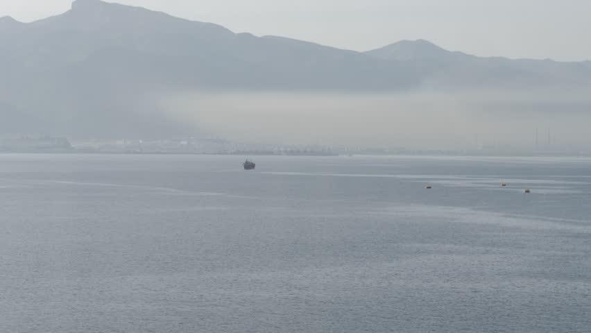 Dense smog around industrial port | Shutterstock HD Video #1016822653