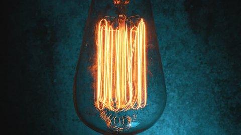 Old retro light bulb fluctuating light