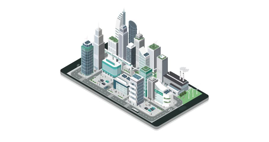 Isometric contemporary city with skyscrapers, people and traffic building on a touch screen smartphone, augmented reality and apps concept