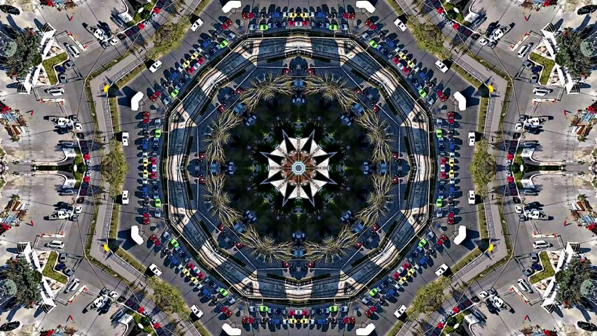 Kaleidoscope /x8 mirrors/  of city traffic aerial view, drone camera top down. Perfect for music background