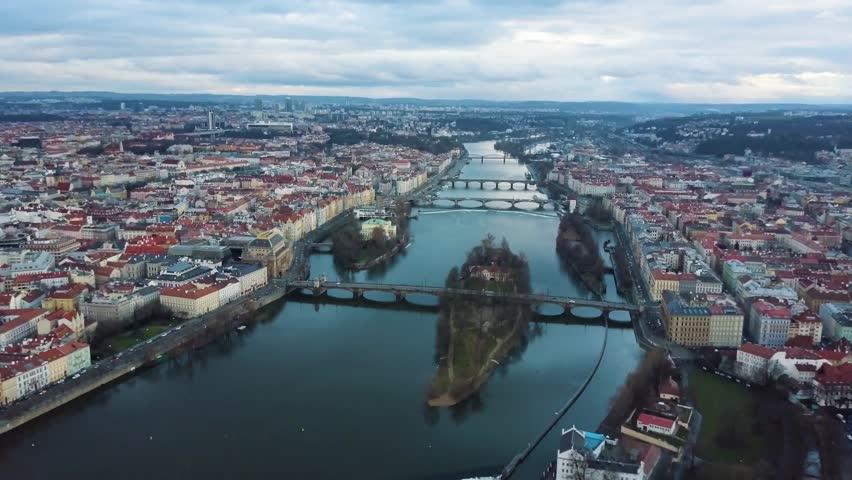 Drone Shot of Prague River Vitava at Sunset | Shutterstock HD Video #1016905603