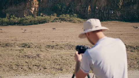 Photographer takes photos or video on camera standing on a tripod of wild zebras and warthogs in the Savannah in the African reserve on the background of beautiful rocks in the dry season.