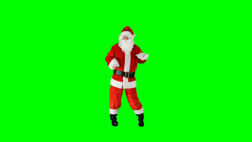 Santa Claus Dancing on Isolated Green Blue Screen Chroma Key Alpha Channel #1016945923