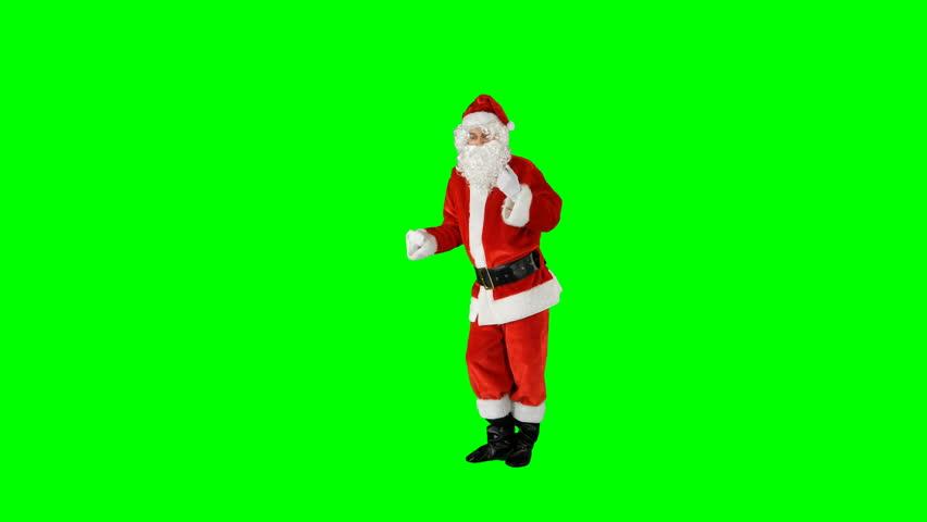 Funky Disco Santa Claus Dancer on Green Screen #1016945923