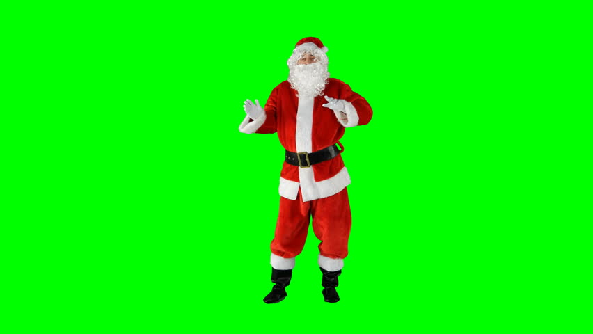 Santa Claus Dancing on Isolated Green Blue Screen Chroma Key Alpha Channel #1016945983