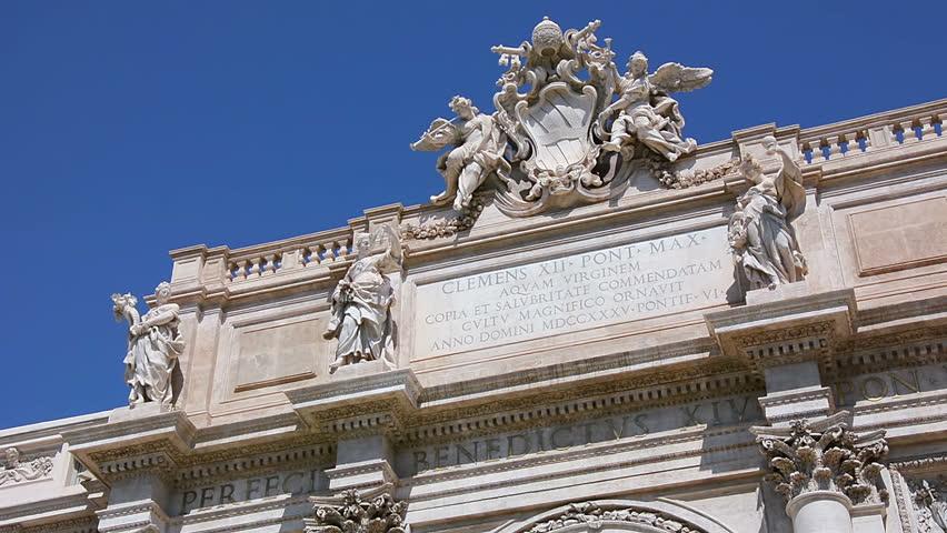 Sculptures at the top of the Fontana di Trevi facade, Rome, Italy
