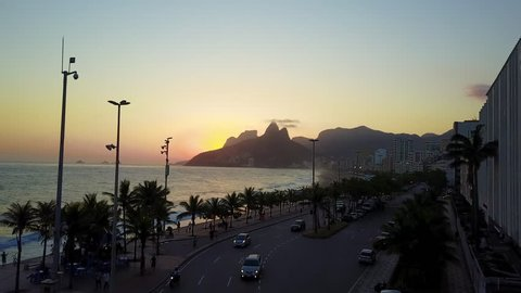Streets of Ipanema Rio de Janeiro Brazil, during one summer sunseting towards the ocean