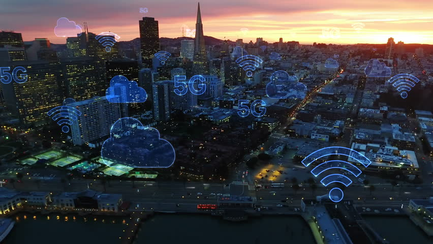 Aerial city connected through 5G. Wireless network, mobile technology concept, data communication, cloud computing, artificial intelligence, internet of things. Futuristic city. San Francisco skyline. | Shutterstock HD Video #1017009613