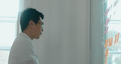 Asian Chinese employee looking onto a glass wall with sticky notes, framework for managing work, scrum methodology. 4K UHD 60 FPS SLOW MOTION