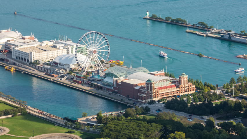 Chicago Navy Pier Ferris Wheel and Boats on Lake Michigan Aerial Day Timelapse
