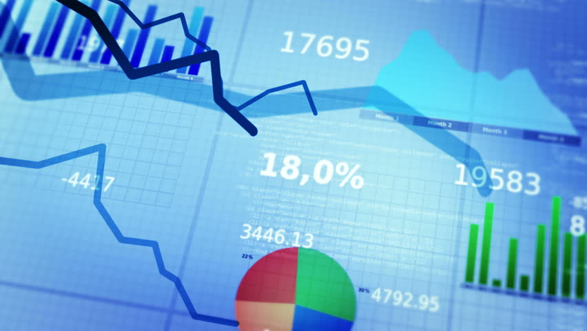 Financial figures and diagrams showing decreasing profits. Decreasing charts. White-Blue. Loopable.   | Shutterstock HD Video #10170725