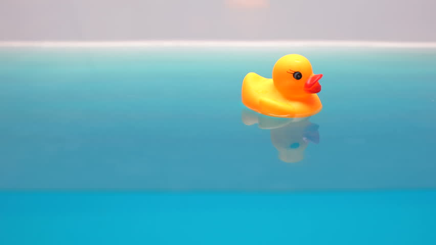 Yellow rubber duck floating in bath, relaxing time for children, macro shot