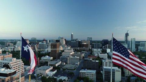 4K Aerial Texas and American Flag Austin
