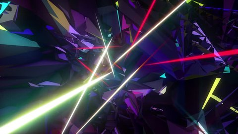 Neon lasers polygonal lights seamless animated loop for music videos, holidays background, LED screens, projection mapping, light show, events, party, night club.
