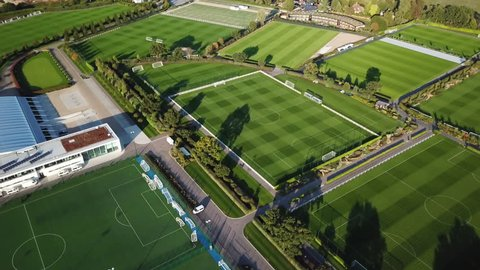 LONDON, ENGLAND - 15 SEPT 2018: Aerial professional soccer football training facility London England. Aerial view of Tottenham Hotspur Football Club. One of the worlds more popular sport, soccer.