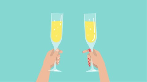 Romantic couple are holding wine glasses. A man and a woman cheers to clinking and drinking sparkling wine. Holiday party concept, celebration and congratulation. Motion graphic with flat illustration