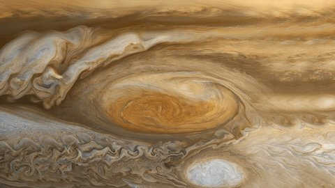 A realistic representation of the upper atmosphere of Jupiter as the bands of clouds move over time. Based on actual data from NASA spacecraft studying Jupiter's cloud tops.